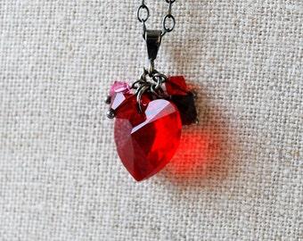 Red Swarovski Heart Charm Necklace