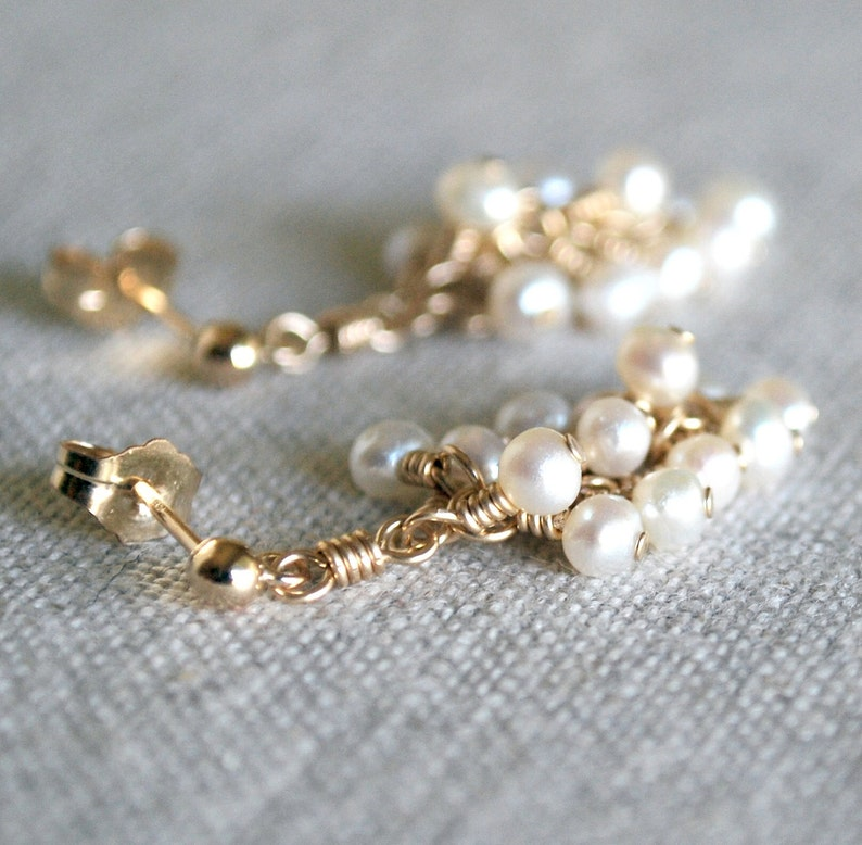 Pearl Cluster Earrings in Gold-Fill image 0