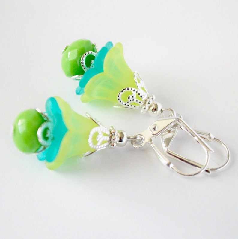 Lime and Teal Flower Earrings image 0