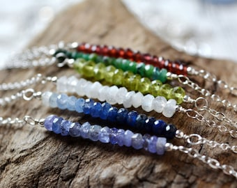 Faceted Gemstone Bar Necklace in Sterling Silver