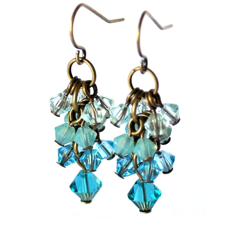 Teal Blue Cluster Earrings Featuring Swarovski Crystal Beads image 0