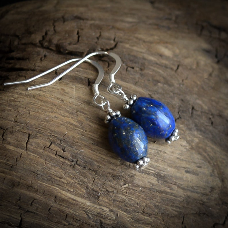 Lapis Lazuli Earrings in .925 Sterling Silver image 0