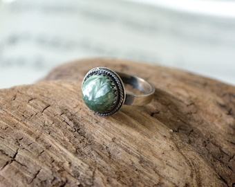 Seraphinite in Sterling Silver Size 5 Handmade Ring