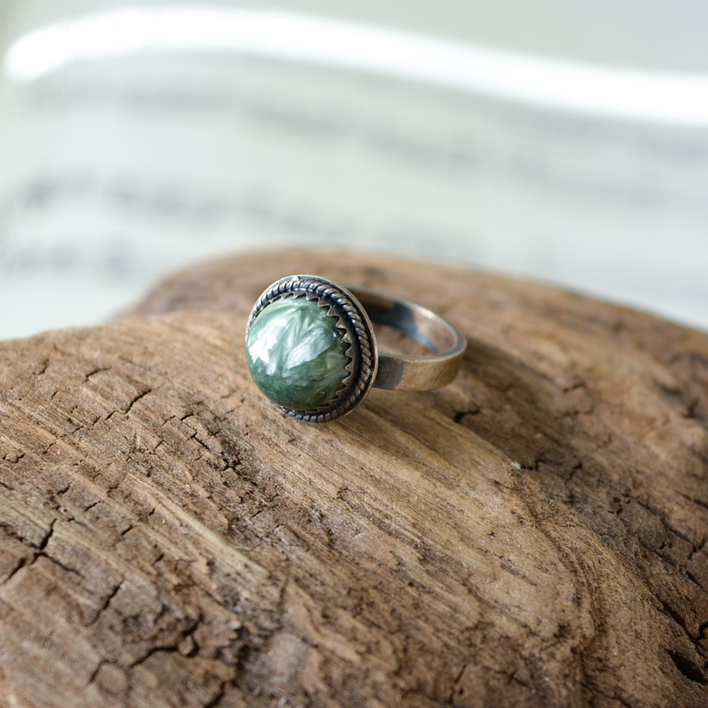 Seraphinite in Sterling Silver Size 5 Handmade Ring image 0
