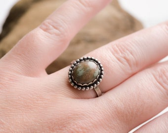 Moss Agate Ring Handmade Sterling and Fine Silver Size 7.5