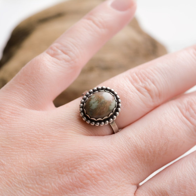 Moss Agate Ring Handmade Sterling and Fine Silver Size 7.5 image 0