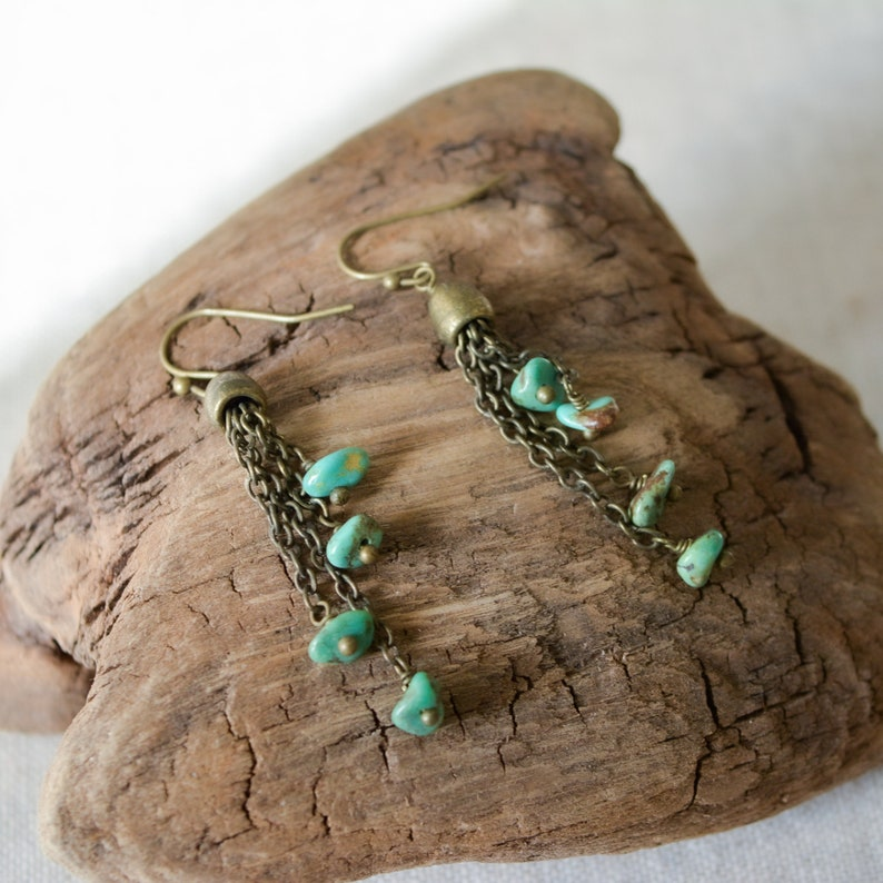 Turquoise and Antiqued Bronze Dangly Earrings image 0