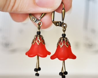 Vintage Style Antiqued Brass Frosted Red Flower Earrings