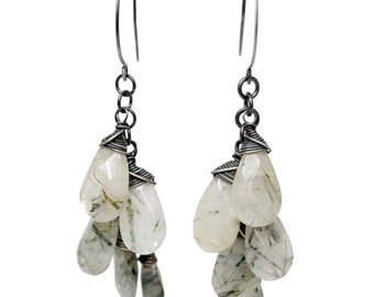 Tourmalinated Quartz Dangle Earrings in Sterling Silver