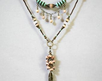 Two-Strand Bohemian Turquoise and Peach Sunstone Necklace, Boho Necklace, Dangling and Cascading, Bugle Bead Necklace, Feather Necklace