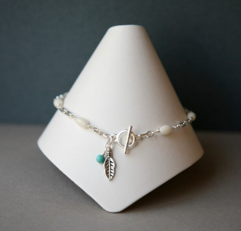 White Coral Anklet with Feather and Turquoise Accents
