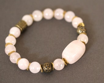 Pink Quartz and Antiqued Brass Stretch Bracelet, Soft Pastel Pink Bracelet, Adjustable Bracelets
