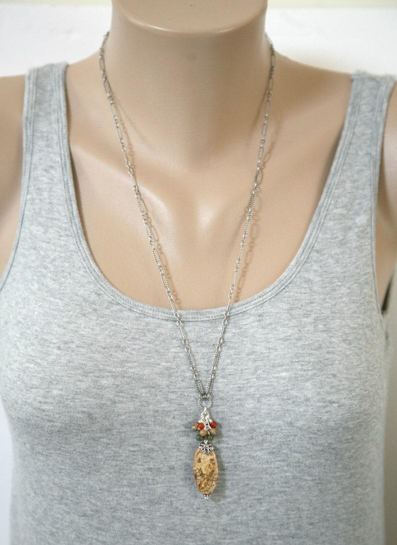 Picture Jasper Necklace Minimalist Necklace Dainty Jewelry Brown Necklace Dainty Necklace Dressy Necklace Autumn Necklace