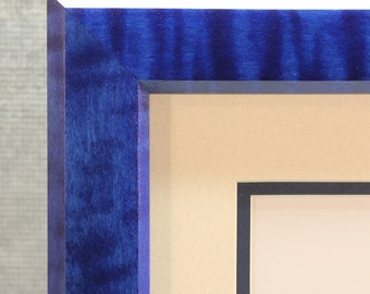 Diploma Frame, Beautiful Blue, Solid Tiger Maple, 8 1/2 x 11, Graduation Gift
