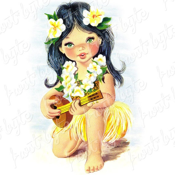 Cushion Pillow Cover Case Retro Vintage Hawaii Tiki Hula Girl Hawaiian Ukelele