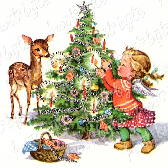 Vintage Christmas Deer and Tree , Digital image for instant download
