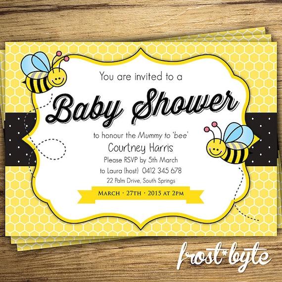 Bumblebee Baby Shower Digital Invitation Bee Babyshower Etsy
