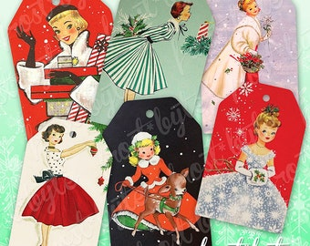 Mid Century Christmas Lady Tags - Print at home - DIY Xmas labels for gifts - instant download file - holiday wrapping retro classy