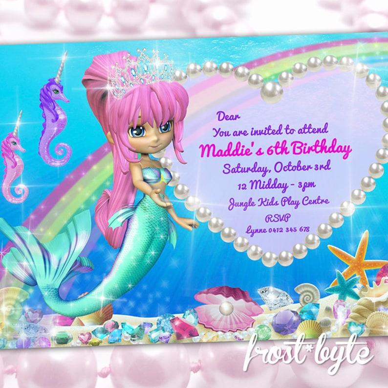 47504a9e585a Mermaid Party Invitation Birthday invites custom made with