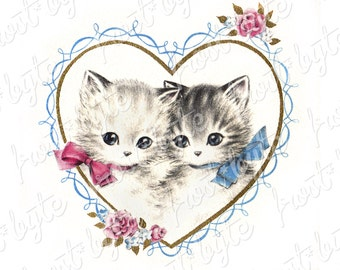 Vintage Love Heart Kittens Wearing Bows - Instant download digital image - heart frame valentine love cats cute kitch clip art