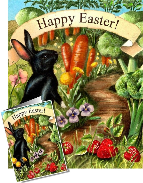 Set of Black Easter Bunny Cards by Melody Lea Lamb