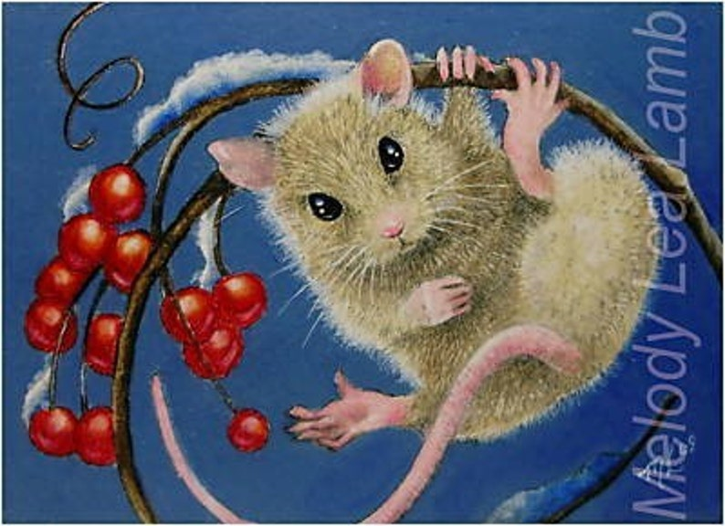 Winter Mouse Art  by Melody Lea Lamb ACEO Giclee Print