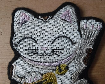 Maneki Neko Embroidered Iron On Patch, Patches, Embroidered Applique, Japanese Cat, Good Luck, Good Fortune, Embroidered Patch, Asian Kitty