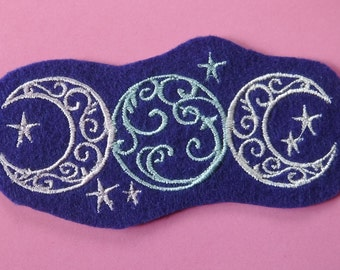 Triple Moon Pentacle Patch blue thread embroidered on white flower fabric goddess symbol moon phase