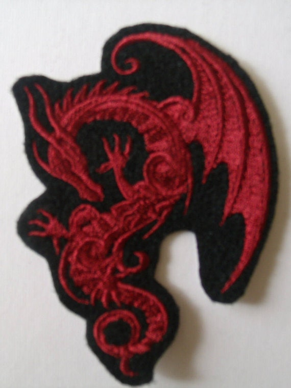 Red Fire Breathing Dragon Patch Legend Fantasy Fly Embroidered Iron On Applique