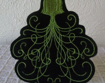 Lime Green Jelly Fish Embroidered Iron On Patch, Patches, Embroidered Applique, Embroidered Patch, Gothic Patch, Florescent Green, Black