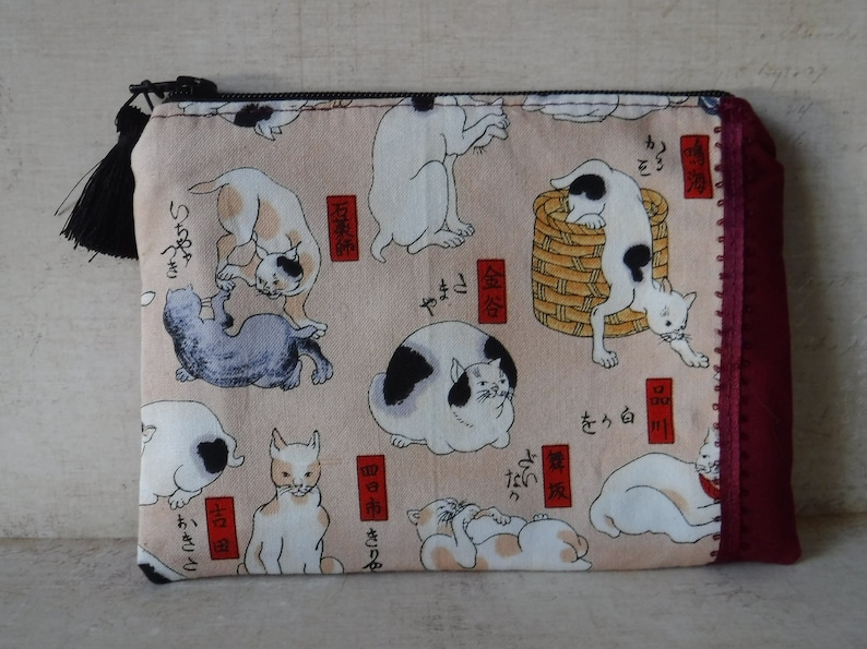 Japanese Cat, Cat Print, Cat Gifts, Japanese Fabric, Japanese Pouch, Zipper  Pouch, Tampon Pouch Holder, Toiletry Bag, Makeup Bag, Sanitary