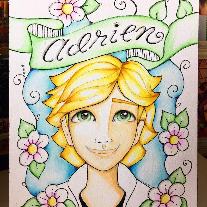 Adrien Agreste/ Miraculous Lady Bug / watercolor Art / Print / image 0