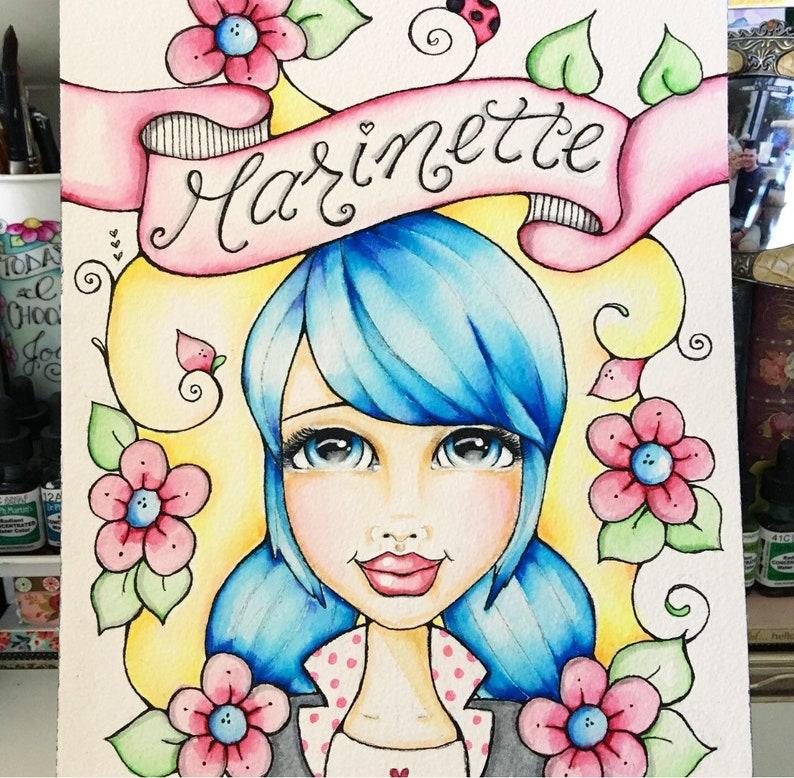 Marinette / Miraculous Lady Bug / watercolor Art / Print / image 0