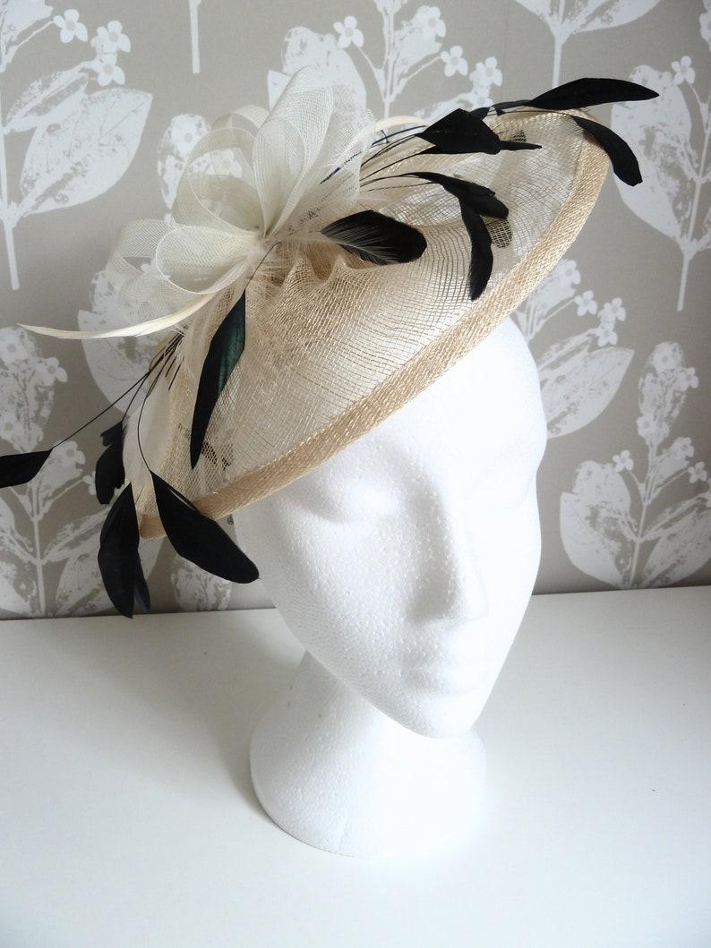 0828f4dc2db39 Cream and black fascinator on headband. Ivory cream saucer | Etsy