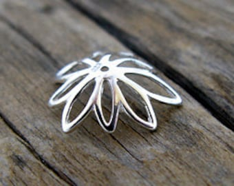2 For the Price of 1 Sale - Sterling Silver Open Lotus Petal Cap -16mm
