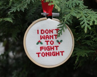 ramones christmas ornamentrock and roll cross stitch3hand stitched hoopmerry christmas i dont want to fight tonightthe ramones