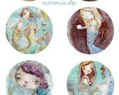 Mermaids - sticker sheet - 6 round stickers