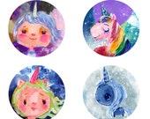 Unicorn School - sticker sheet - 6 round stickers