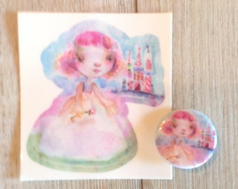 Candy Princess - kiss cut sticker and/or button