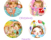 Childhood Dreams - sticker sheet - 6 round stickers
