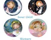 Inner Child - sticker sheet - 6 round stickers