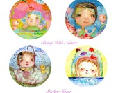 Being With Nature - sticker sheet - 6 round stickers