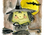 Happy Witch  - art print by Mindy Lacefield