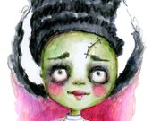 Bride of Frankenstein  - art print by Mindy Lacefield