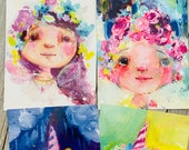 Unicorn Girls - postcard set of 4