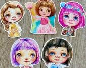 Blythe Doll Inspired II - 5 Vinyl die cut stickers