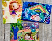 Illustrative Flair - postcard set of 3