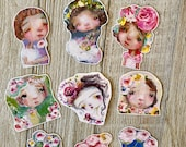 Flower Girls - 9 piece die cut stickers