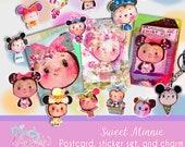 Sweet Minnie - postcard/sticker set plus ice cream charm