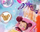 Sweet Dreams Mickey - mixed media art print by Mindy Lacefield